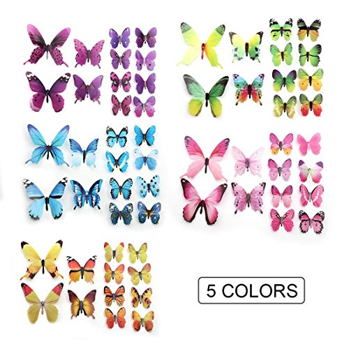 60 PCS Removable 3D Butterfly Wall Stickers Decals DIY Wall Art Decor Home Wall Decoration Sticker Mural for Kids Girls Children Bedroom Living Room Background Nursery 5 Colors (Multi)