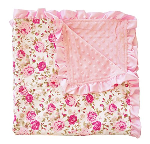 PoshPeanut Kids Blanket Soft Minky Ruffled Edge Double Layer Throw Floral Baby Blankie 32