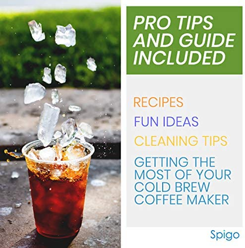 Cold Brew Coffee Maker By Spigo 1 Liter 4 Cups Capacity Great For Flavorful Iced Coffee That Stays Fresh Longer Borosilicate Glass Easy Cleaning Fun Ideas And Recipe Booklet 8x5 Inches Black