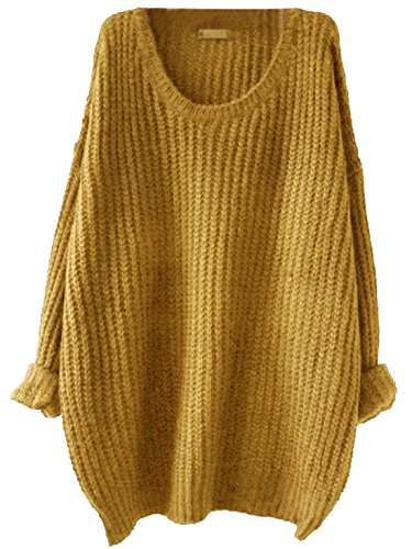 SweatyRocks Women's Embroidered Flower Oversized Knit Casual Loose Pullover Sweater (Small, Mustard)
