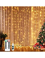 Curtain Lights, Fairy Lights for Bedroom, 300 LEDs Warm White Twinkle Lights with 8 Modes USB Powered, Icicle String Lights with Remote and Timer for Indoor Xmas Party Patio Decoration(9.8 x 9.8 Ft)