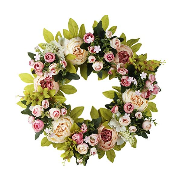 Cat's collections Artificial Peony Flower Wreath – 16″ Pink Flower Door Wreath,Spring Wreath for Front Door, Wedding, Wall, Home Decor