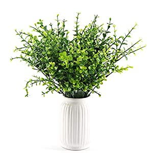 Yunuo 5PCS 7-Fork Green Imitation Plastic Artificial Silk Grass Leaves Plant for Home Decor and Office (02) 1