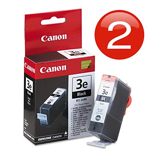Genuine Canon Bci-3e Twin Pack Value Combo in Factory Shrink Wrap and Easy Open Bulk Packaging-2 Cartridges in Total. No Retail Boxes or Plastic Packaging. Includes Poly Gloves.