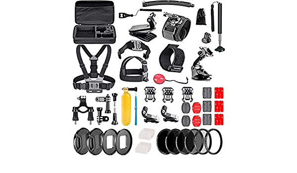 Compatible with The GoExtreme Stage Action Camera Navitech 60-in-1 Action Camera Accessories Combo Kit with EVA Case