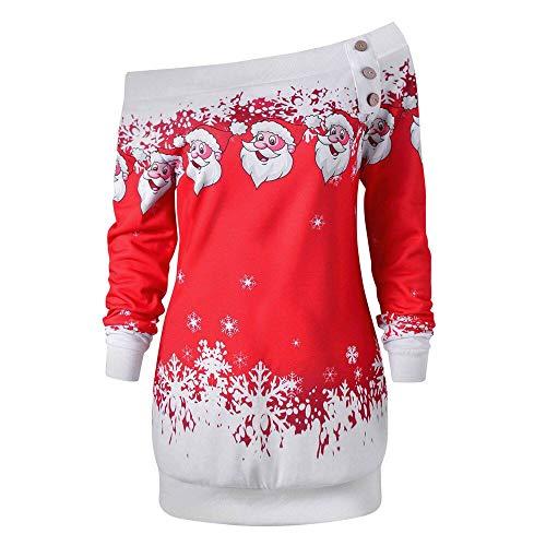 Plastic Snowflakes Bulk (Plus Size Tops Womens Merry Christmas Santa Snowflake Print Long Sleeve Blouse Tops)