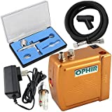 HJLWST OPHIR Portable 100V-240V Airbrush Compressor Kit with Dual-Action Airbrush for Tattoo Makeup