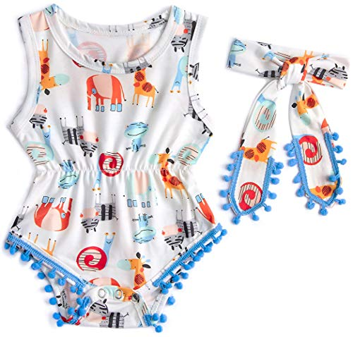 Leapparel Organic Short Sleeve Animal Bodysuit Colorful Snails Coral Outfits for Baby Girls Jumpsuit Shorts 1-2 ()