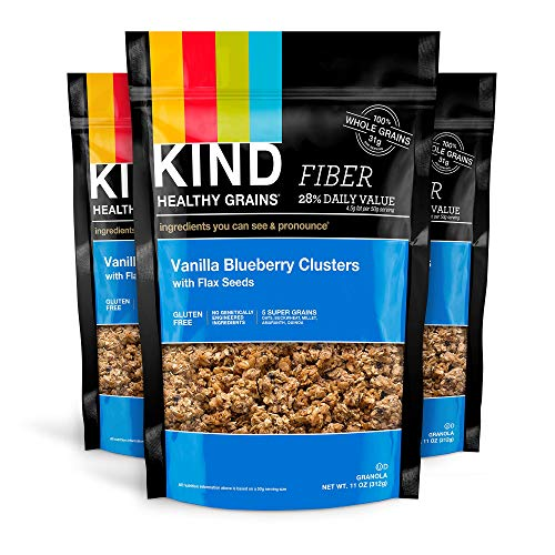 KIND Healthy Grains Granola Clusters, Vanilla Blueberry with Flax Seeds, Gluten Free, 11 Ounce Bags, 3 Count