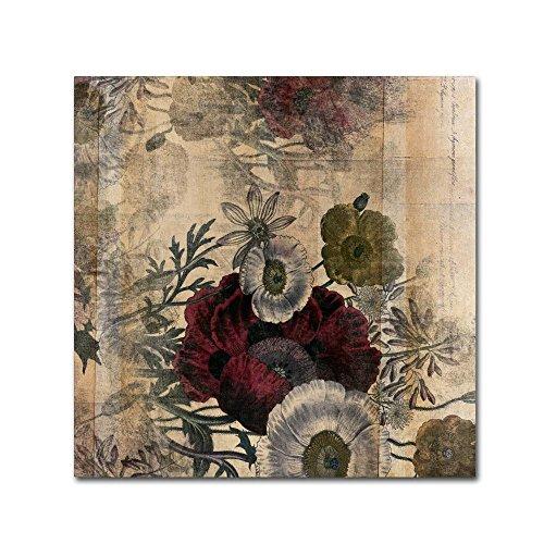 - Floral Collage Burgundy Bloom by Marcee Duggar, 18x18-Inch Canvas Wall Art
