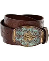 "Men's Western Tooled Full Grain Leather Jean Belt Black Brown 1.5"" Wide"