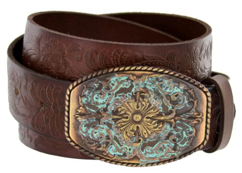 Changeable Buckle (Women's Western Tooled Full Grain Leather Jean Belt Brown 1.5