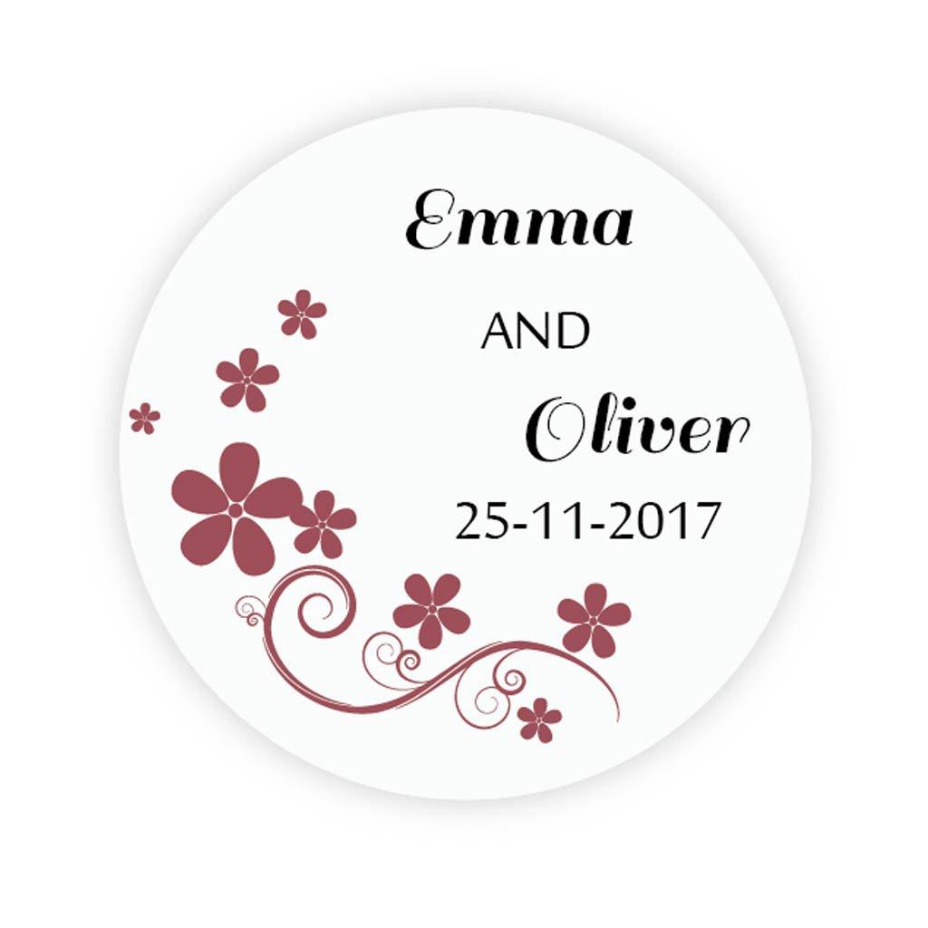Ekunstreet 48x personalised flower sticker wedding favour