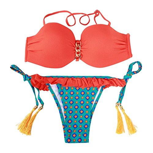 Haicoo Floral Sexy Halter Juniors Bikini Sets Fringe Micro Thong-6724-RD2