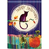 "Happy Halloween, Black Cat, Pumpkin ""Full Moon"" Standard House Flag, 28″x40″ For Sale"