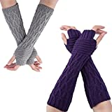 Flyou 2Pairs Womens Length Arm Warmer Gloves Fingerless Knit Gloves Mitten