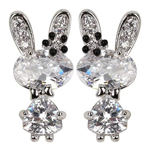 Hiddleston Cubic Zirconia Bunny Ears Tiny Simple Stud CZ Earrings Silver Rabbit Flower Baby Charms Birthstone Easter Gift for Women Teen Girl Kid -