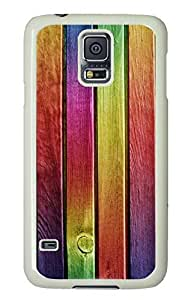 Cool Painting galaxy s5 case,custom samsung galaxy s5 case, Rainbow wood diy samsung galaxy s5 case,PC Material,Drop Protection,Shock Absorbent,white case