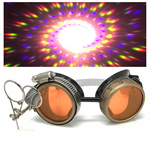 - Steampunk Victorian Style Goggles with Compass Design, UV Glow in The Dark Neon Orange Rave Diffraction Glasses Spiral Lenses