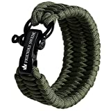 The Friendly Swede Trilobite Extra Beefy 500 lb Paracord Survival Bracelet with Stainless Steel Black Bow Shackle, Available in two Adjustable Sizes