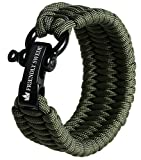 "The Friendly Swede Trilobite Extra Beefy 550 lb Paracord Survival Bracelet with Stainless Steel Black Bow Shackle, Available in 3 Adjustable Sizes (Army Green, fits 6""-7"" Wrists)"