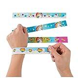 12 Birthday Everyday Party Favors UNICORN PONY RAINBOW Paper SLAP BRACELETS