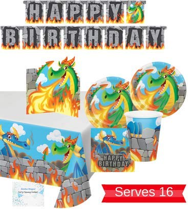 - Dragon Party Supplies - Plates Cups Napkins Banner Tablecloth Centerpiece for 16 People - Perfect Dragon Party Decorations for Birthday!
