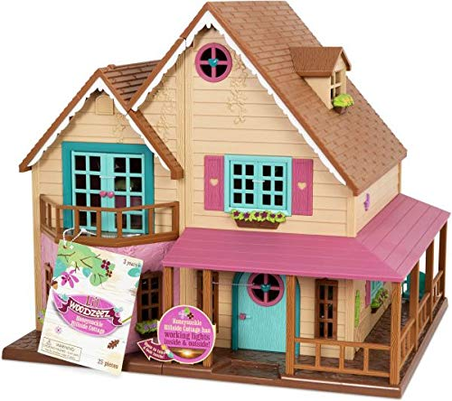 (Li'l Woodzeez Animal Figurine Playset and Accessories - Honeysuckle Hillside Cottage - 25 Pieces)