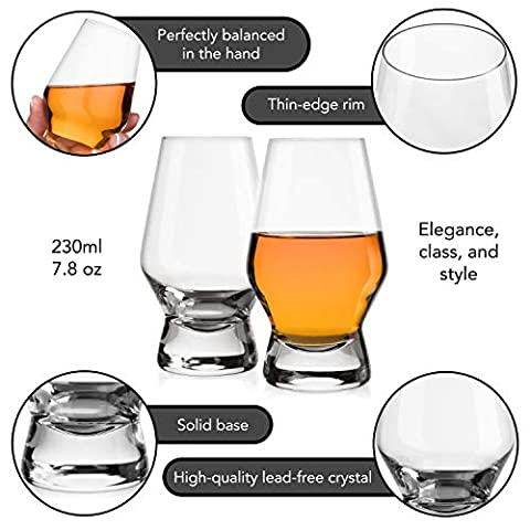 JoyJolt Halo Crystal Whiskey/Scotch Glasses set of 2. Perfect Whisky Glass for Liquor or Bourbon Tumblers. 7.8 Once…