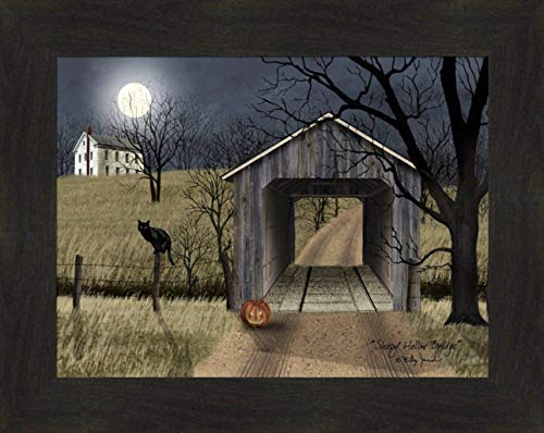(Home Cabin Décor 'Sleepy Hollow Bridge' by Billy Jacobs 15x19 Full Moon Covered Bridge Black Cat Jack-O'-Lantern Pumpkin Night Framed Art Print Picture )