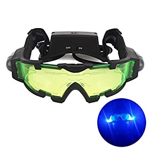 AGM Adjustable Night Vision 25 Feet Goggles with Flip-out Lights Green Lens Great Toy for Kids