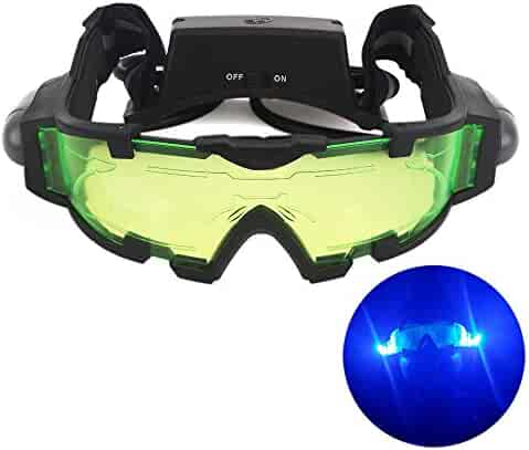 19d1241d1e7 AGM Adjustable Night Vision 25 Feet Goggles with Flip-out Lights Green Lens  Great Toy