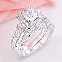 Fashion Women 925 Silver Princess Cut White Topaz Ring Set Wedding Band Jewelry (6)