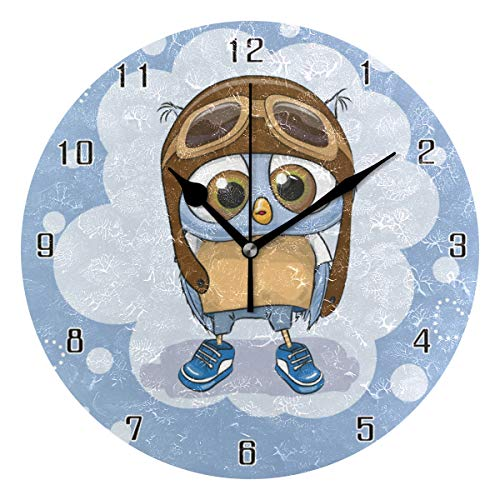 MAISHING Heart Shaped Owl World Round Wall Clock Home Decor Clock Battery Operated Silent Non -Ticking Desk Clock for Home,Office,School (10 - Shaped Clock Owl