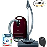 Miele Complete C3 SoftCarpet Canister Vacuum Cleaner, Tayberry Red - ReVIVE Rapid Dual USB 6 Outlet Wall AC Adapter, & 10123210 AirClean 3D Efficiency Dust Bag, Type GN, 4 Bags & 2 Filters (Bundle)