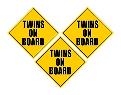 Zone Tech Twins On Board MAGNET - safe caution safety sign children magnetic - 3 Pack