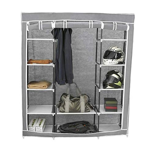 Armario ropero guardarropa de Tela Desmontable 150 x 45 x 175 cm Gris con 3 Puertas enrollables PrimeMatik