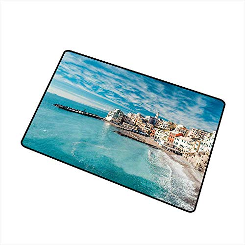 (Italy Front Door mat Carpet Panorama of Old Italian Fishing Village Beach in Old Province Coastal Charm Image Machine Washable Door mat W31.5 x L47.2 Inch Turquoise)