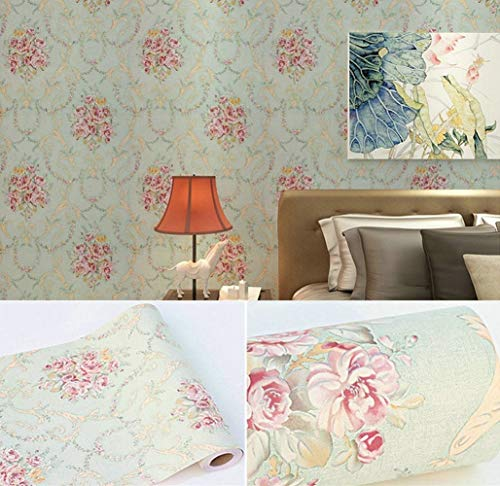 "Vintage Rose Peel and Stick Wallpaper Self Adhesive Contact Paper Floral Removable Shelf Liner Decorative Roll 17.7"" x 393"""