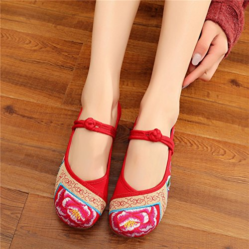 Avacostume Womens Peony Embroidery Old Beijing Dancing Dress Shoes Red