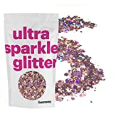 Hemway Rose Gold Holographic Mix Glitter Chunky Multi Purpose Dust Powder Arts & Crafts Wine Glass Decoration Weddings Flowers Cosmetic Face Eye Body Nails Skin Hair Festival 100g