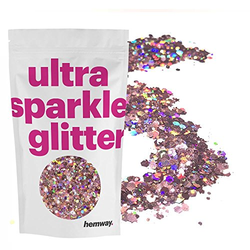 (Hemway Rose Gold Holographic Mix Glitter Chunky Multi Purpose Dust Powder Arts & Crafts Wine Glass Decoration Weddings Flowers Cosmetic Face Eye Body Nails Skin Hair Festival 10g)