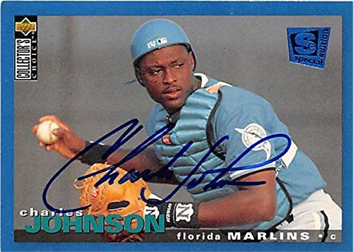 (Charles Johnson autographed baseball card (Florida Marlins) 1995 Upper Deck #135 Special Edition - MLB Autographed Baseball Cards)