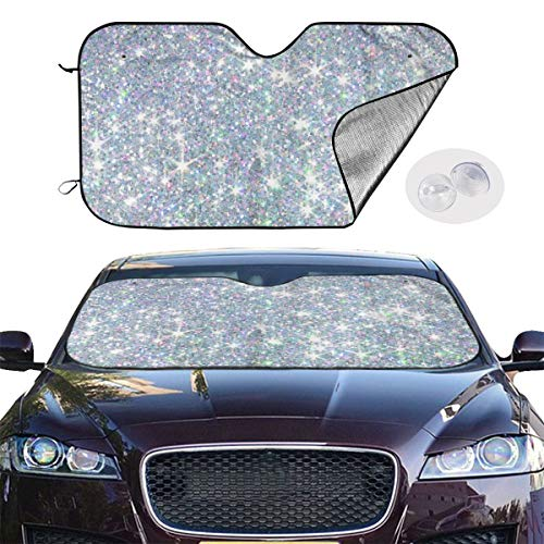 DLZXHomer White Bling Brilliant Bright Light Car Sunshade Windshield 27.5 X 51 in. Suitable for Most Models -Keep Your Vehicle Cool. UV Sun and Heat Reflector Protection