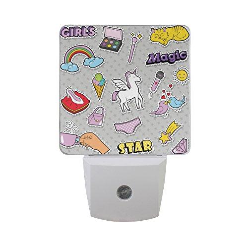 Saobao - Insignias LED de luz nocturna para niñas con gato arcoíris, para recámara, baño, sala...