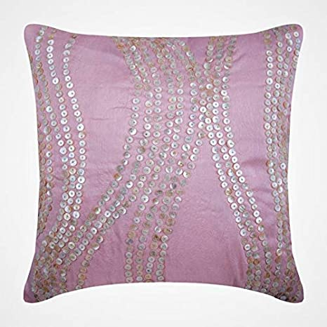 Amazon Com The Homecentric Decorative Pink Pillow Covers 16x16 Inch 40x40 Cm Silk Cushion Cover Home Decor French Toile Mother Of Pearl Contemporary Designer Fabric Angelic Charm Kitchen