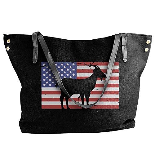 Large Tote Black Flag Canvas Goat Handbag Shoulder American Women's Hand Bag amp; qEF5PfwYn