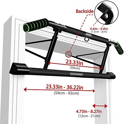 SIEBIRD Pull Up Bar for Doorway with Mount Hook - Chin Up Bar No Screws - Angled Grip Home Gym Exercise Equipment - Portable Pullup Bar Upper Body Workout Bar with Bonus Resistence Band 7