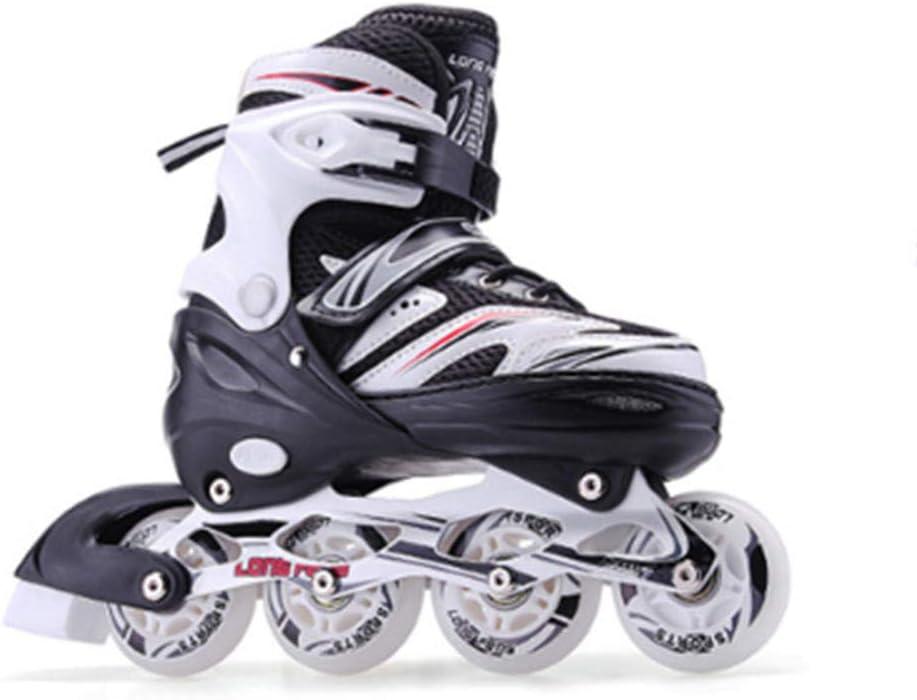 JKlb Full-Flash Inline Skates Children Adults Men and Women Inline Roller Skates Boys Girls Beginners Kids Roller Blades Comfortable Pu-Black/_L