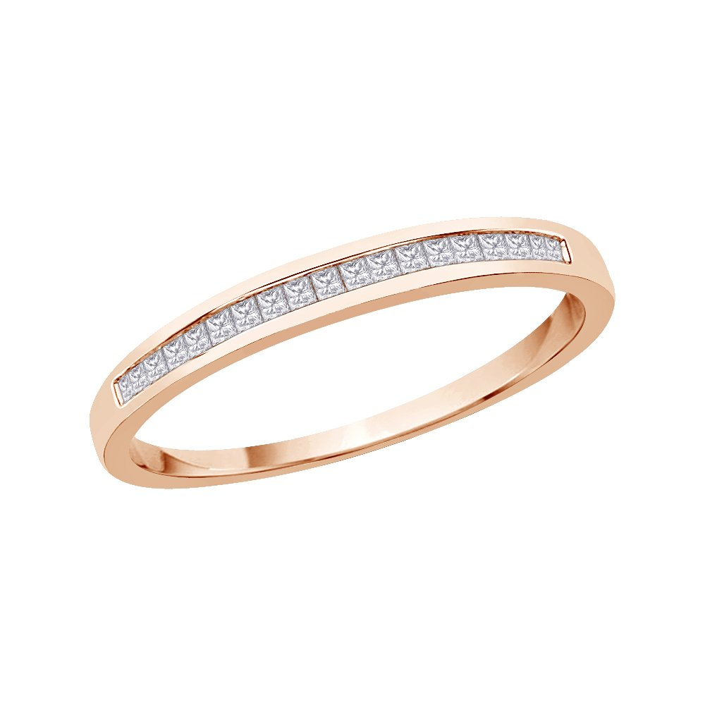 Size-8 1//10 cttw, Diamond Wedding Band in 14K Pink Gold G-H,I2-I3